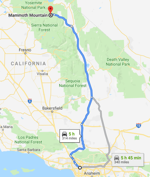 driving from los angeles to mammoth