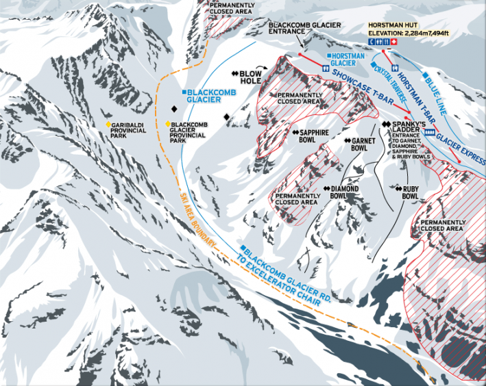 Whistler - Blackcomb Glacier trail map